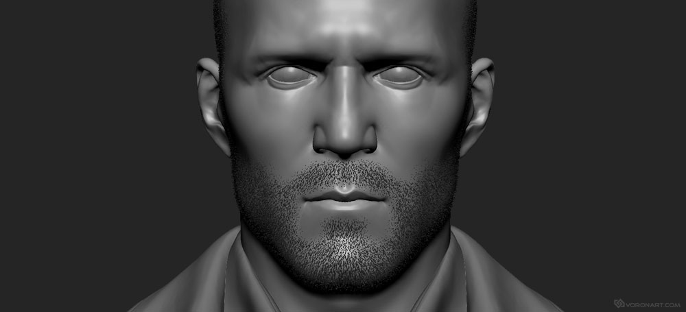 Jason Statham 3d portrait. High poly Zbrush sculpt