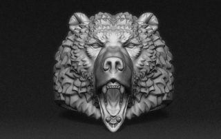 Roaring Bear ring, jewelry 3d model. STL, OBJ