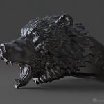 Roaring Bear ring, jewelry 3d model. STL, OBJ