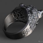 Roaring Bear ring, jewelry hollow 3d model. STL, OBJ
