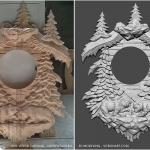 Wall Clock. 3D model for CNC wood carving.