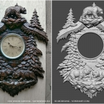 Wall Clock. 3D model for CNC wood carving.