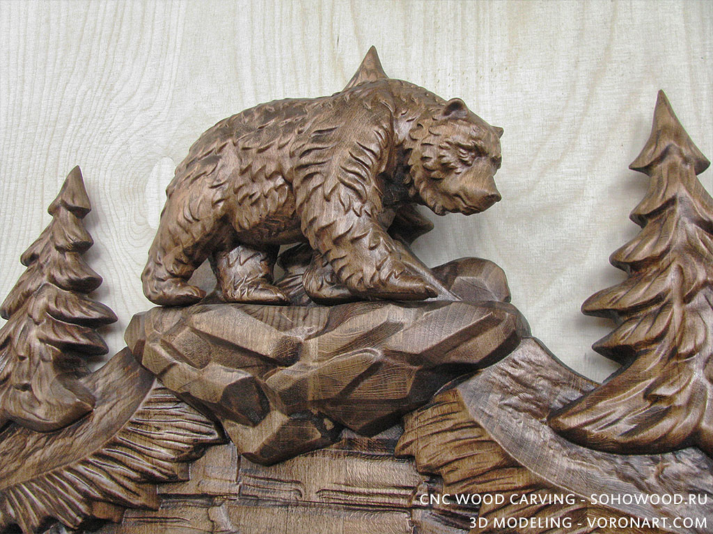 D model for cnc wood carving walking bears