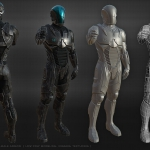 Mobile online game male player character. Power armor. Low poly real-time 3d model
