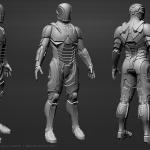 Power armor suit 3D model. High poly sculpting