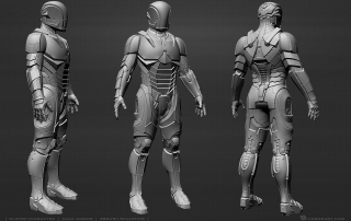 Power armor suit 3D model. High poly sculpting