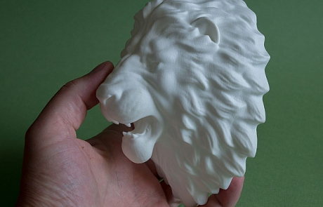 Lion head polyamide 3d-print. And hollow 3d model