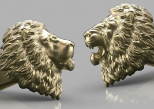 Calm and Angry Lion Ring. jewelry 3d model for 3d printing. STL, OBJ