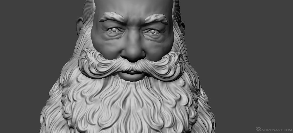 Santa Claus portrait 3D model. For the CNC carving, 3D printing