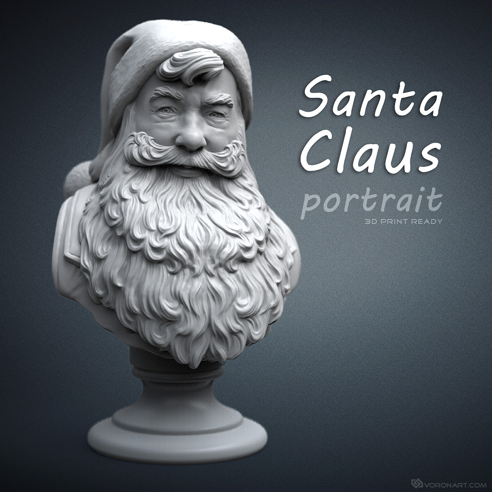 santa claus bust sculpture 3d-model