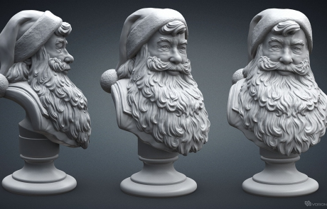 Santa Claus portrait 3D model. High polygon sculpture for 3d-printing, CNC carving