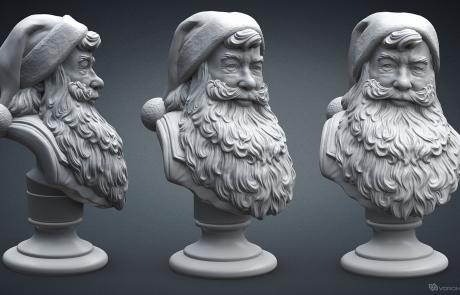 Santa Claus portrait 3D model. High polygon sculpture for 3d-printing, CNC carving