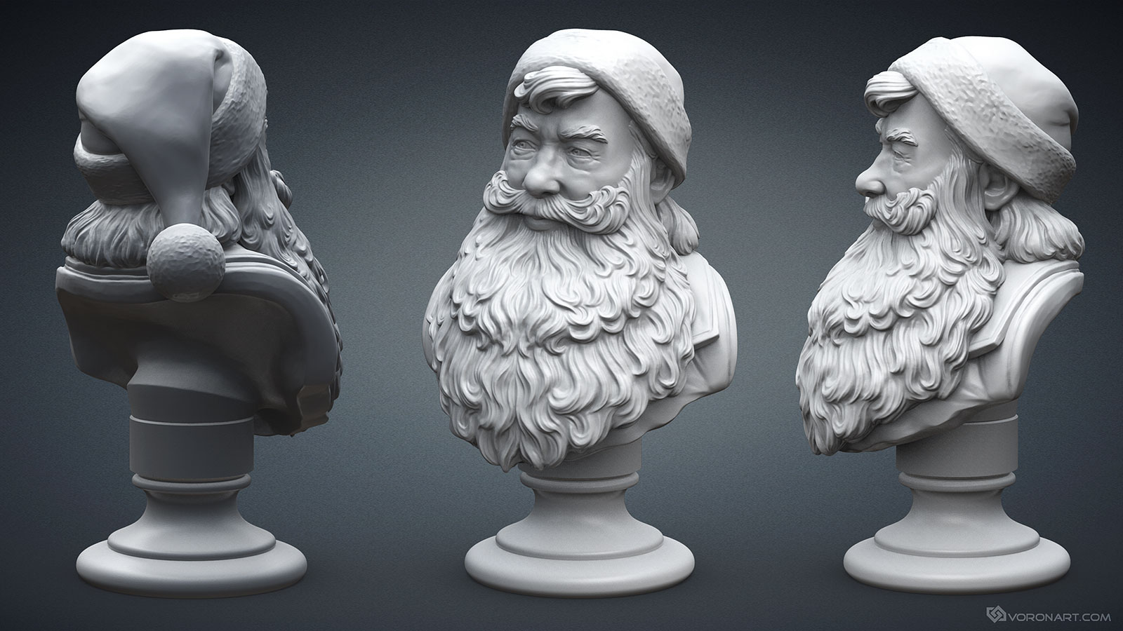 santa claus portrait 3d sculpture