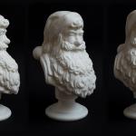Santa Claus portrait bust. 3D print in PLA plastic