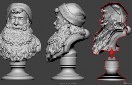 Santa Claus portrait 3D model. High polygon sculpture for polyamide 3d-printing