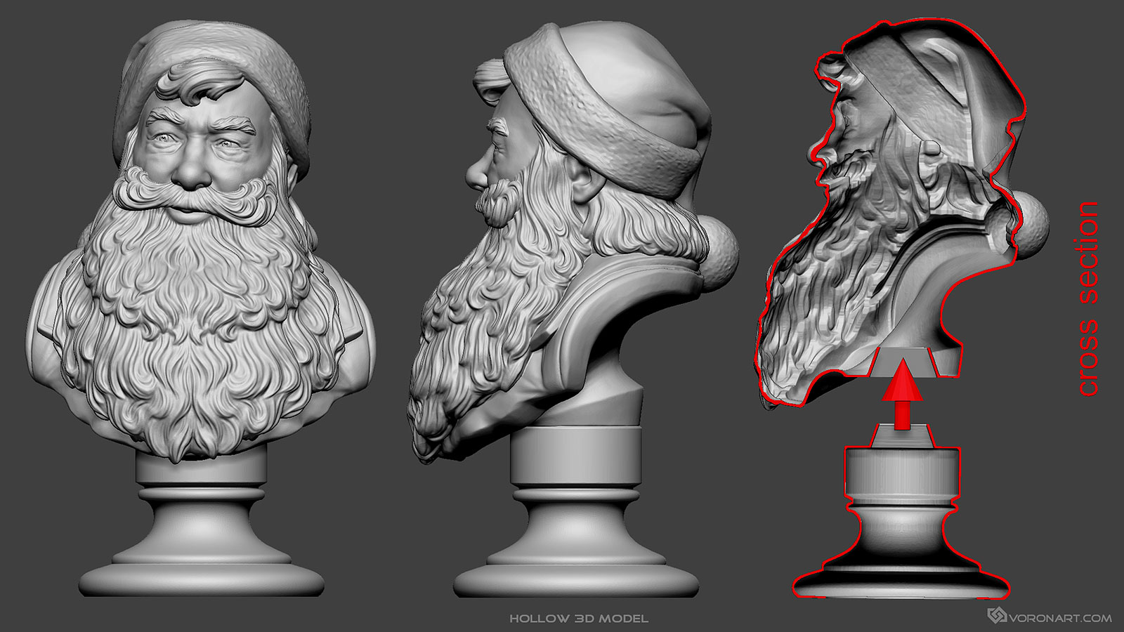 Santa Claus Portrait 3d Sculpture