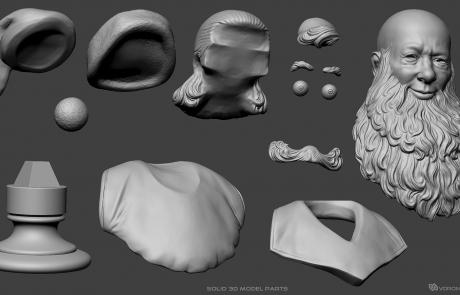 Santa Claus portrait 3D model. Solid 3d model's parts