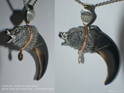 Aggressive bear Head 3d sculpture. Silver jewelry