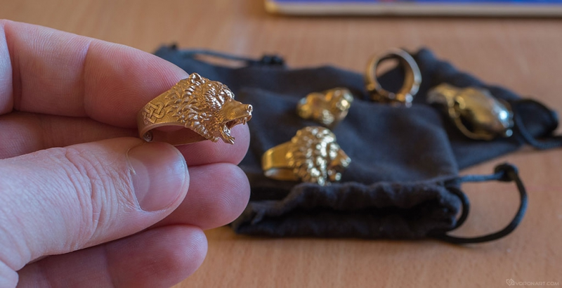 Aggresive Bear ring. Animal rings in metal based my 3d model