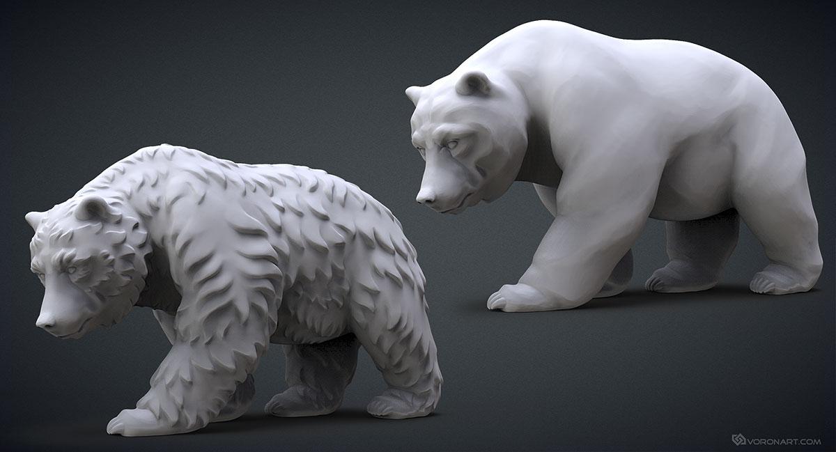 Walking Bears 3d Model High Polygon Sculpture
