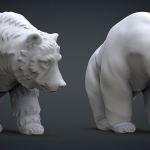 walking bear 3d model. high polygon 3d sculpture for 3d-printing or CNC carving