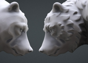 walking bear 3d model. high polygon 3d sculpture