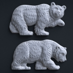 Walking bears bas-relief 3d model. High polygon sculpture for CNC carving