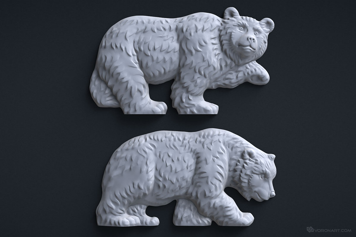 Walking bears d model high polygon sculpture