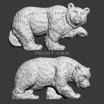 Walking bears bas-relief 3d model. High polygon sculpture for CNC curving, 3d-printing