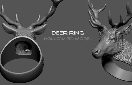 buy deer head ring digital 3d model. STL, OBJ files