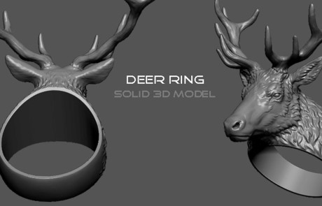 buy deer head ring digital 3d model. STL, OBJ files