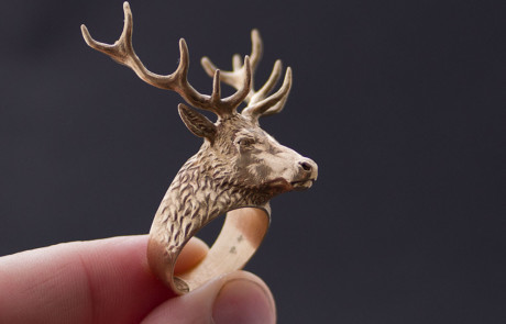 deer stag head ring jewelry 3d model. Photo in Bronze
