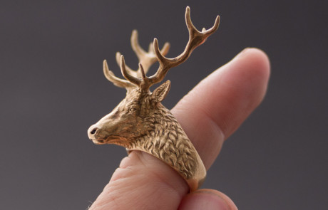 deer stag head ring jewelry 3d model. Ring photo in Bronze