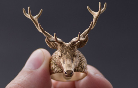 deer stag head ring jewelry 3d model. Digital sculpture