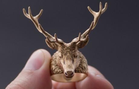 deer stag head ring jewelry 3d model. Digital sculpture