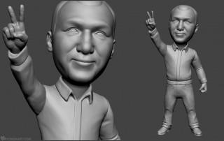 alpinist bobblehead portrait sculpture for 3d printing