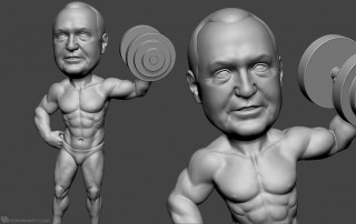 bodybuilder portrait full body sculpting. 3d model for 3d printing