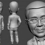 Businessman bobblehead portrait figurines for 3d printing. Digital sculpture from photo