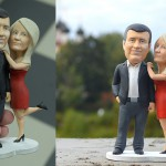 couple in love. Finished bobblehead figurine. 3d printed and hand painted miniature gift