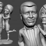couple in love. Bobblehead portrait figurines for 3d printing. Digital sculpture from photo