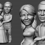couple in love. Portrait figurine for FDM 3d printing. 3d sculpture from photo