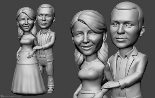 couple in love. Bobblehead portrait figurines for 3d printing