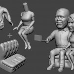 selfie couple. Portrait figurine for FDM 3d printing. Digital sculpture from photo