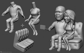 selfie couple. Bobblehead portrait figurines for 3d printing. Digital sculpture from photo
