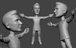 male dancer portrait bobblehead sculpting for 3d printing
