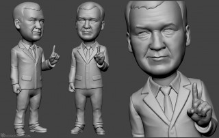 politician bobblehead sculpture for 3d printing from photo