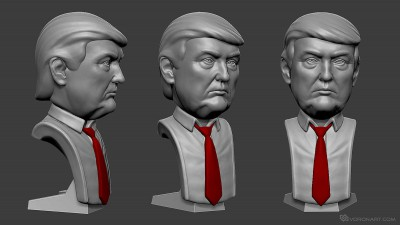 Donald Trump portrait. Digital sculpture for 3d printing