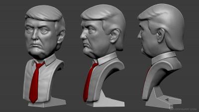 Donald Trump portrait. Digital sculpture for 3d printing