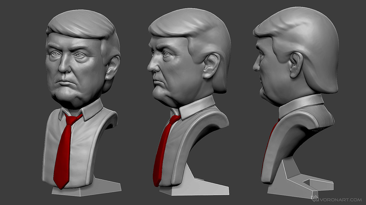 Donald trump portrait 3d print ready model stl obj files for Donald model