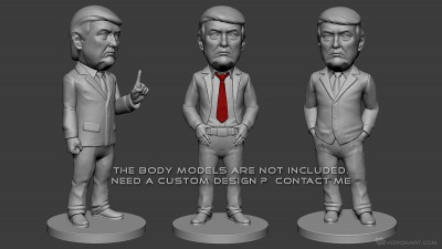 Donald Trump portrait bobblehead. 3d-print-ready model. STL, OBJ files